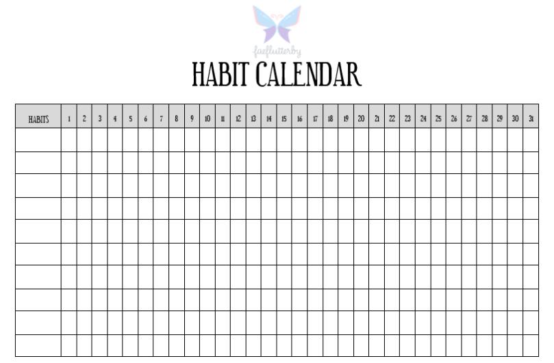 FaeFlutterby 10 Weeks Habit Mastery Challenge - Habit Calendar Photo